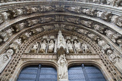 Brussels - east portal of Notre Dame du Sablon Royalty Free Stock Photos