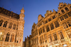 Brussels - The facade of Grand palace and other palaces Stock Images