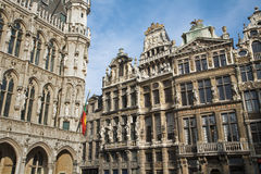 Brussels - The facade of Grand palace and other palaces Stock Image