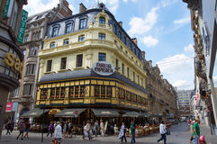 Brussels famous pub. Brussels, Belgium - July 31, 2015: Brussels famous pub. People enjoy a drink on the terrace stock image