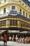 Brussels famous pub. Brussels, Belgium - July 31, 2015: Brussels famous pub. People enjoy a drink on the terrace Royalty Free Stock Images