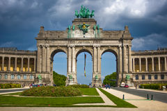 Brussels. Famous triumphal arch Stock Photos