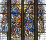Brussels - Gathering of the Manna - basilica. Brussels - Gathering of the Manna. Scene from Old Testament. Detail from windowpane of National Basilica of the Royalty Free Stock Image