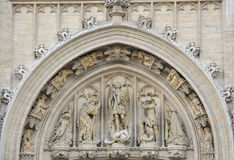 Brussels gothic architecture. Gothic architecture details in Brussels Stock Photography