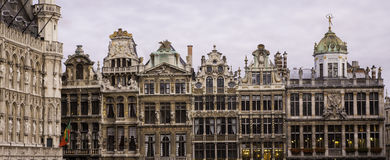 Brussels grand place. Typical gothic buildings along the famous square of Brussels, capital of Belgium, the great square or grand place stock photography