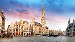 Brussels - Grand place, Belgium. At sunrise royalty free stock image