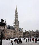 Brussels Grand Place covered with snow Royalty Free Stock Images