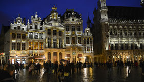 Brussels grand place by night Stock Images