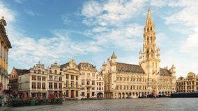 Brussels - Grand place at night, nobody, Belgium.  Stock Photos