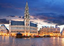 Brussels - Grand place at night, nobody, Belgium.  Royalty Free Stock Image