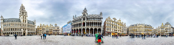 Brussels grand place panorama Royalty Free Stock Photos