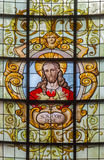 Brussels - The Heart of Jesus in windowpane in church Notre Dame aux Riches Claires by Jan van Keer (1904) Royalty Free Stock Photo