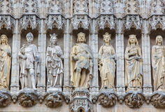 Brussels - The holys on the gothic facade of Town hall. Palace was built between 1401 and 1455 Stock Photos