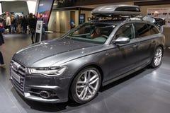 Audi A6 Avant car. BRUSSELS - JAN 19, 2017: Audi A6 Avant car showcased at the Brussels Autosalon Motor Show stock image