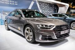 Audi A8 car. BRUSSELS - JAN 10, 2018: Audi A8 car presented at the Brussels Motor Show Royalty Free Stock Image