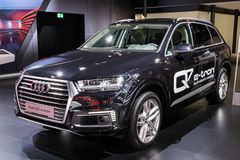 Audi Q7 e-tron V6 Plug-in hybrid car. BRUSSELS - JAN 10, 2018: Audi Q7 e-tron V6 Plug-in hybrid car showcased at the Brussels Motor Show Royalty Free Stock Image