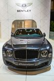 Bentley Mulsanne Speed luxury car. BRUSSELS - JAN 12, 2016: Bentley Mulsanne Speed luxury car showcased at the Brussels Motor Show Stock Photos