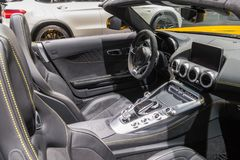 Mercedes AMG SLS GT sports car. BRUSSELS - JAN 10, 2018: Interior of a Mercedes AMG SLS GT sports car showcased at the Brussels Motor Show Royalty Free Stock Photos