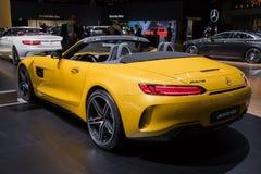 Mercedes AMG SLS GT sports car. BRUSSELS - JAN 10, 2018: Mercedes AMG SLS GT sports car showcased at the Brussels Motor Show Stock Photo