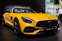 Mercedes AMG SLS GT sports car. BRUSSELS - JAN 10, 2018: Mercedes AMG SLS GT sports car showcased at the Brussels Motor Show Royalty Free Stock Photography