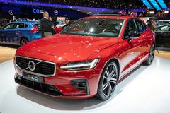 Volvo S60 car. BRUSSELS - JAN 18, 2019: New Volvo S60 car showcased at the Brussels Motor Show 2019 Autosalon royalty free stock photos