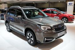 2018 Subaru Forester Compact SUV car. BRUSSELS - JAN 10, 2018: Subaru Forester Compact SUV car showcased at the Brussels Motor Show Stock Images