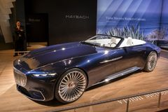 2018 Vision Mercedes-Maybach 6 Cabriolet car. BRUSSELS - JAN 10, 2018: Vision Mercedes Maybach 6 Cabriolet car showcased at the Brussels Motor Show Royalty Free Stock Images