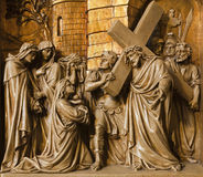 Brussels - Jesus and the craing women. Royalty Free Stock Images