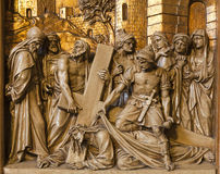 Brussels - Jesus fall under cross -relief Royalty Free Stock Image