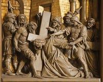 Brussels - Jesus falls under cross. Stock Photo