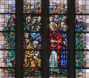 Brussels - Jesus give Peter the Keys to the Kingdom - basilica. Brussels - Jesus give Peter the Keys to the Kingdom from windowpane of National Basilica of the Stock Photography