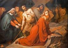 Brussels - Jesus under cross. Royalty Free Stock Photo