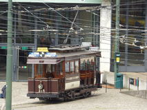 Brussels - June 11: Old heritage streetcar tramway in front of Tram Museum in Brussels.  Photo taken on June 11, 2017, Brussels Stock Photography