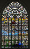 Brussels - Last judgment (1528). Windowpane in Saint Michael Stock Image