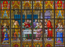 Brussels - The Last Supper on the windowpane in the cathedral of st. Michael and st. Gudula. Stock Photo