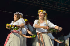 Brussels Latvian Dancers in an open air show Royalty Free Stock Photos