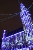 Brussels light parade. Brussels town hall in a jolly mood stock image