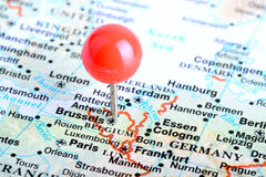 Brussels. Macro shot of a European map showing Brussels Royalty Free Stock Photo
