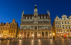Brussels - The main square and Grand palace in evening. Grote Markt. Stock Photos