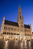 Brussels - The main square and Town hall in evenin Stock Photography