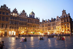 Brussels - The main square and Town hall in evenin Royalty Free Stock Photos