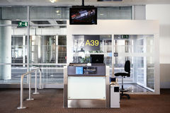 BRUSSELS-MAY 25, 2013. Brussels Airport.Desk at gate in Zaventem Stock Photo