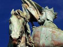 Brussels medieval crusader statue. Detail of the statue of the hero Godfrey of Bouillon on the Brussels Royal Square. Godfrey of Bouillon was a medieval knight Royalty Free Stock Image