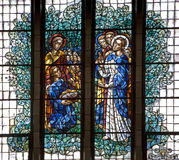 Brussels - Miracle of Multiplying Food. From windowpane of National Basilica of the Sacred Heart on June 22, 2012 in Bruss Stock Photo
