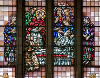 Brussels - Miracle of Multiplying Food - Basilica. BRUSSELS - JUNE 22: Miracle of Multiplying Food from windowpane of National Basilica of the Sacred Heart on Royalty Free Stock Images