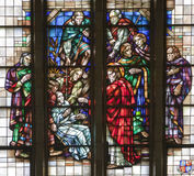 Brussels - Miracle of The paralytic's recovery - basilica. Brussels - Miracle of The paralytic's recovery from windowpane of National Basilica of the Sacred Stock Photography