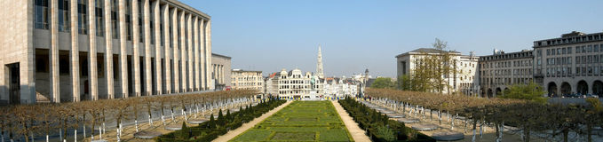 Brussels: Mont des Arts. Mont des Arts large panorama in Brussels, Belgium stock image