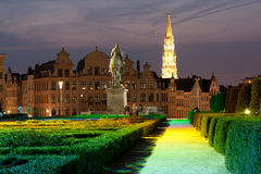 Brussels - Mont des Arts. At night Stock Photography