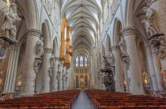 Brussels - Nave of gothic cathedral of Saint Michael and Saint Gudula. Stock Image