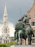 Brussels near the Grand-place. Don Quichotte in Brussels, in the background, the Grand-place royalty free stock images